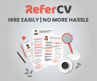 Advertisement for www.refercv.com/